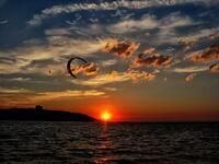 new jersey, sandy hook state park, sandy hook bay, summer, sun, kiteboarder,