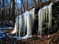 pennsylvania, haycock, spring, frozen, icicles,