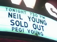 pennsylvania, upper darby, tower theatre, legend, marquee, Neil Young, Peggi Young, show