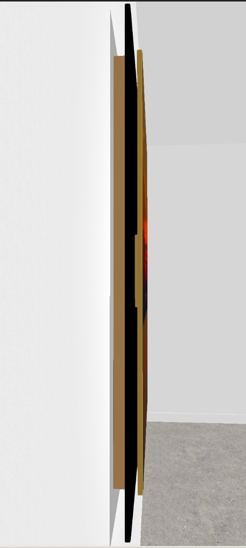 Here is a sideview of the Super Hi Lite Float. The image appears to float off the wall, and again has the ability to easily hang...