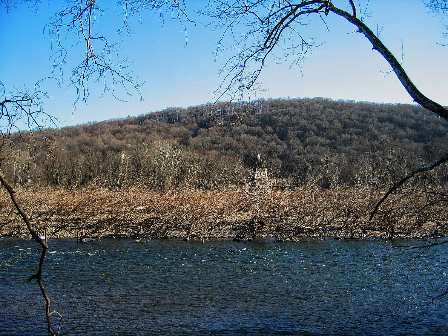 On this current swept island stands one structure defiant of the powerful Delaware River .