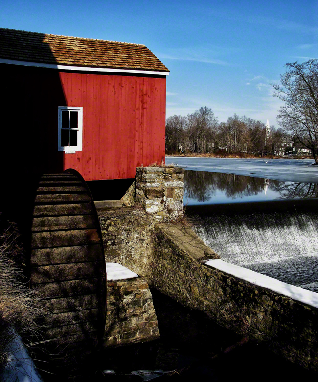 new jersey, clinton, mill, reflects, frozen, water,, photo