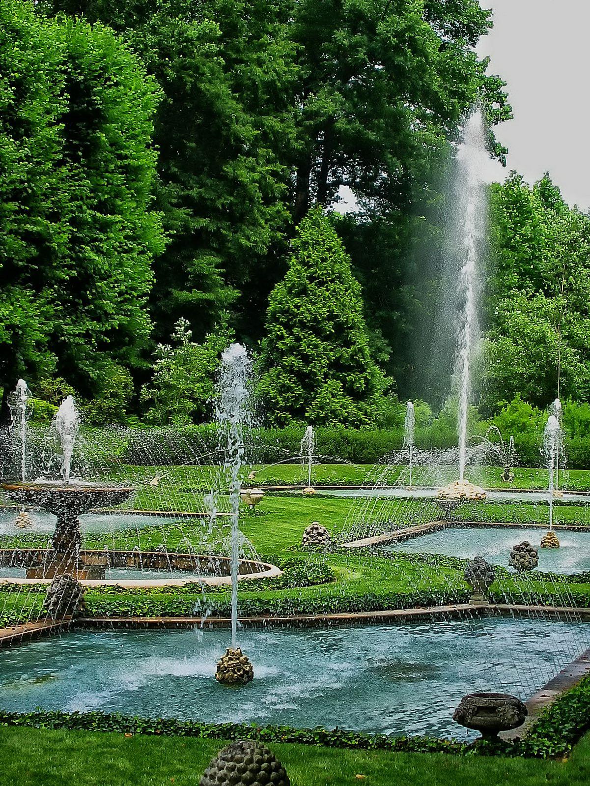 pennsylvania, kennett square, longwood gardens, italian water gardens, fountains,, photo
