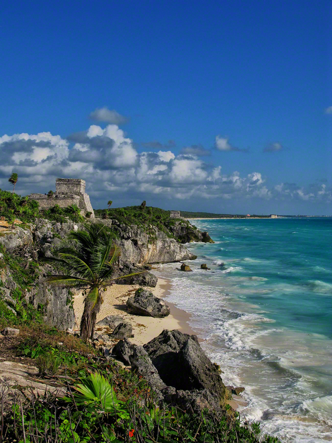 mexico, tulum, coastline, cliffs, walls, quintana- roo,, photo