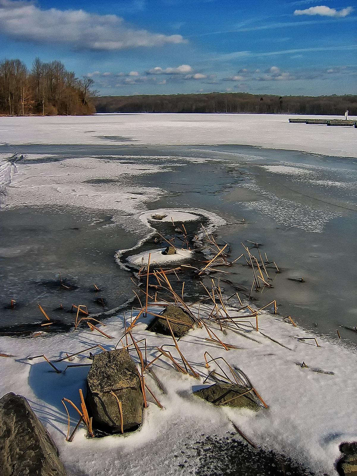 pennsylvania, haycock, lake nockamixon, solitude, lake, cold, frozen, wind, , photo