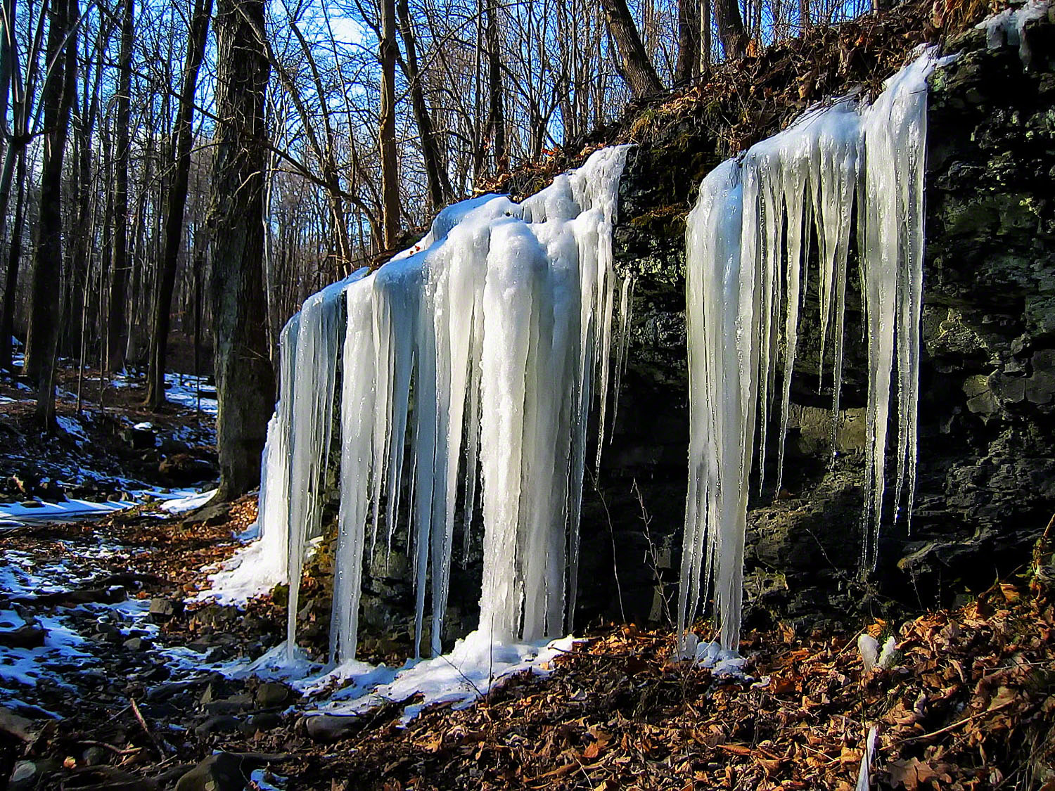 pennsylvania, haycock, spring, frozen, icicles,, photo