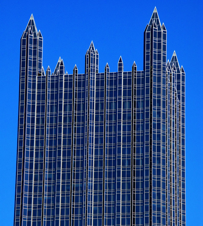 The Pittsburgh Plate Glass Co neogothic style held a surreal appearance on this blue sky day.