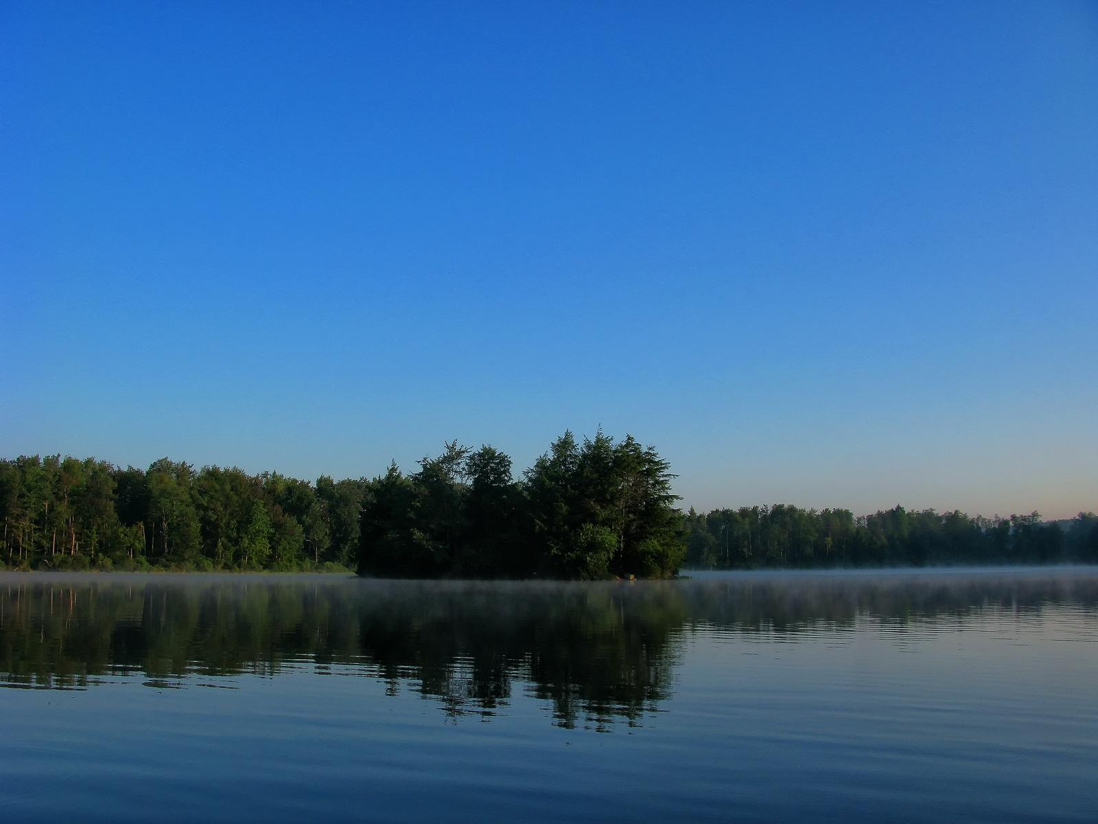 pennsylvania, ricketts glen state park, lake jean, sunrise, mist, , photo