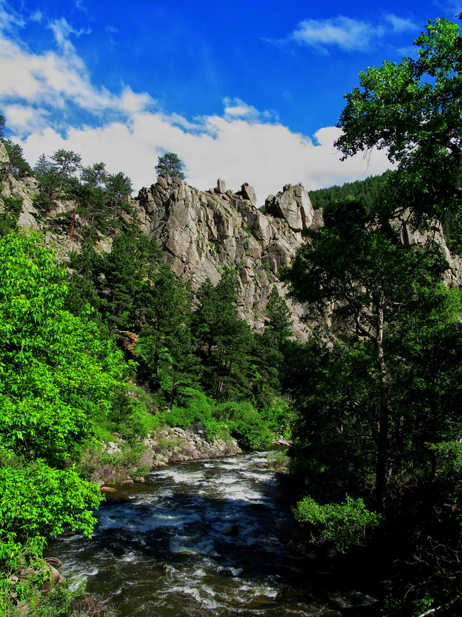 Looking down Boulder Creek at The Elephant Buttresses, a popular climbing trail.