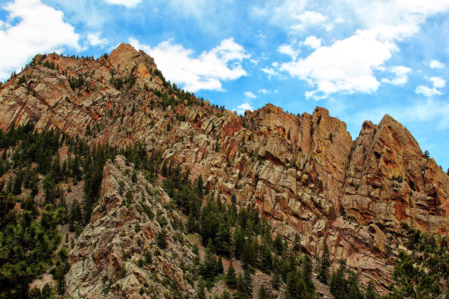 The Redgarden Wall leads your eye 7,240 ft to the top of Shirt Tail Peak.